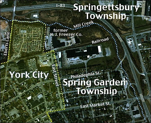 2015 Aerial Photo showing boundaries between York City, Spring Garden Township and Springettsbury Township; while pointing out the former H. J. Freezer plant, on the north side of the railroad tracks (2015 Aerial Photo from York County Tax Assessment site; annotated by S. H. Smith, 2018)