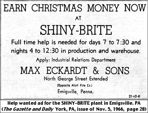 Help wanted ad for the SHINY-BRITE plant in Emigsville, PA (The Gazette and Daily, York, PA, issue of Nov. 5, 1966, page 28)