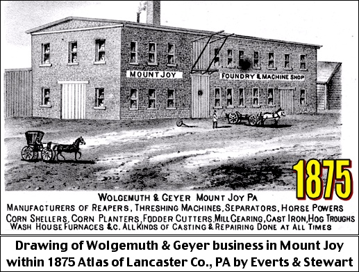Drawing of Wolgemuth and Geyer business in Mount Joy within 1875 Atlas of Lancaster County, PA, by Everts and Stewart