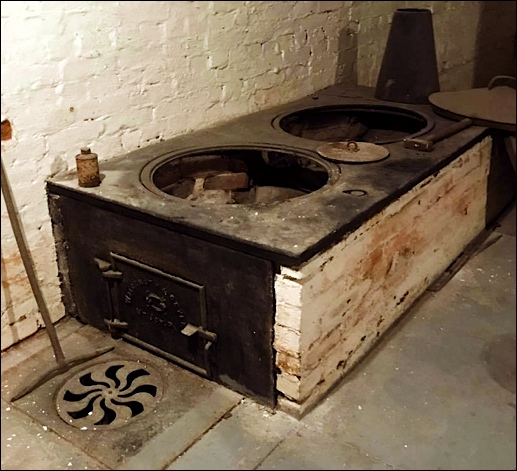 Butchers stove in basement of the home at 3790 East Market Street, Springettsbury Township, York Co., PA (Photo by Greg Koller)