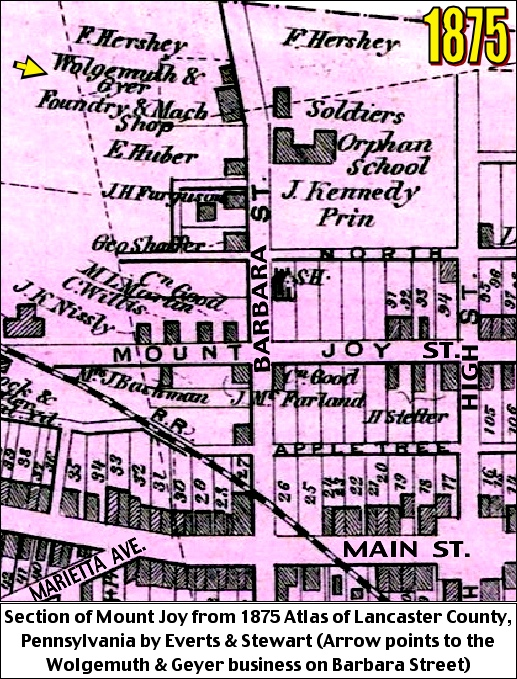 Section of Mount Joy, Lancaster County, PA, showing Wolgemuth and Geyer business on Barbara Street (1875 Atlas of Lancaster County, PA, by Everts and Stewart)