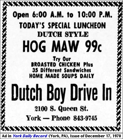 Dutch Boy Drive-In ad for Hog Maw, appearing in the December 17, 1970 issue of the York Daily Record