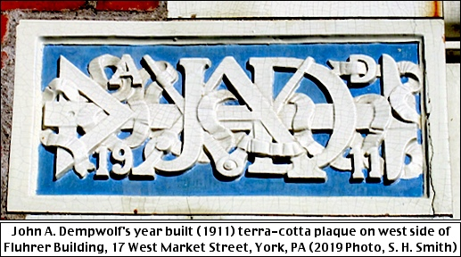John A. Dempwolf's year built (1911) terra-cotta plaque on west side of Fluhrer Building, 17 West Market Street, York, PA (2019 Photo, S. H. Smith)