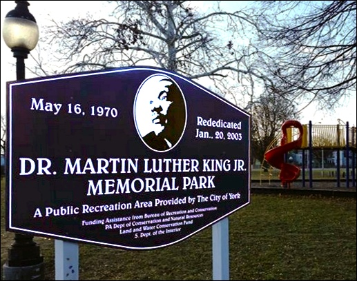 Sign at Dr. Martin Luther King Jr. Memorial Park along South Penn Street in York, PA (Pinterest Photo)