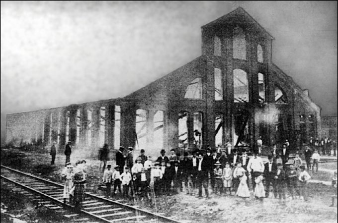 "Aftermath of the July 27, 1901, fire in Hanover, PA; destroying the machine shop leased to AMF (Source: ""AMF, The American Machine and Foundry Company's FIRST HALF CENTURY"")"