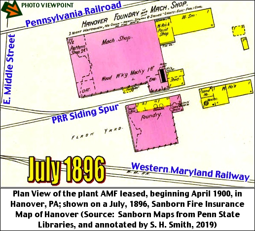 Plan View of the plant AMF leased, beginning April 1900, in Hanover, PA; shown on a July, 1896, Sanborn Fire Insurance Map of Hanover (Source:  Sanborn Maps from Penn State Libraries, and annotated by S. H. Smith, 2019)