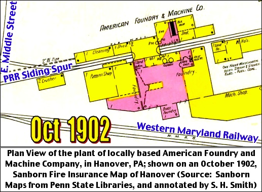 Plan View of the plant of locally based American Foundry and Machine Company, in Hanover, PA; shown on an October 1902, Sanborn Fire Insurance Map of Hanover (Source:  Sanborn Maps from Penn State Libraries, and annotated by S. H. Smith, 2019)