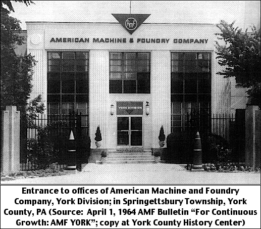 """Entrance to offices of American Machine and Foundry Company, York Division; in Springettsbury Township, York County, PA (Source:  April 1, 1964 AMF Bulletin """"For Continuous Growth:  AMF YORK""""; copy at York County History Center)"""