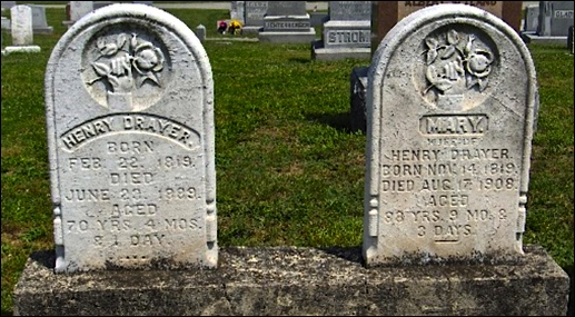 Gravestones of Henry Drayer [1819-1889] and his wife Mary [1819-1908] in Manchester Union Cemetery, York County, PA (Ancesry.com)