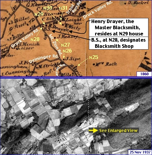 Mt. Zion & Druck Valley Road Area in what is now Springettsbury Township; from Shearer's 1860 Map of York County, PA & Penn Pilot Aerial Photo, from November 25, 1937, of Same Area (Annotations by S. H. Smith, 2016 and 2019)