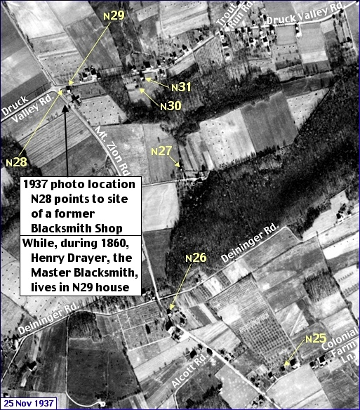 Enlarged View of Penn Pilot Aerial Photo, from November 25, 1937, in the Mt. Zion & Druck Valley Road Area within Springettsbury Township (Annotations by S. H. Smith, 2016 and 2019)