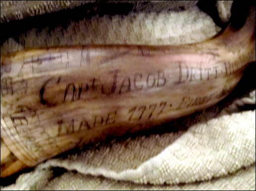 Powder Horn of Capt. Jacob Dritt; owned by Dr. Christian Keller and displayed at his lecture at The Zimmerman Center for Heritage (2019 S. H. Smith photo)