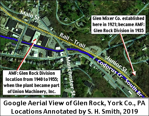 Google Aerial View of Glen Rock, York Co., PA.  Locations Annotated by S. H. Smith, 2019.