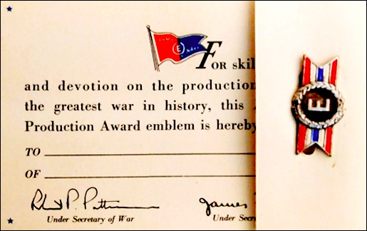 "Army-Navy ""E"" Award card and pin; of the type presented each employee of Hanover Wire Cloth Company on October 10, 1945"