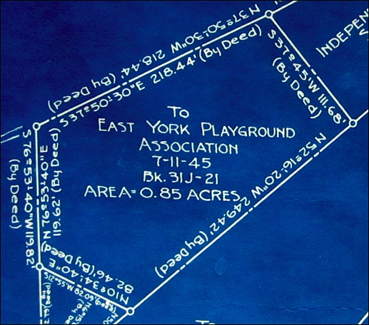 Survey plan of 0.85-acre plot to East York Playground Association on July 11, 1945; from Plan of the whole Schaszberger-Dempwolf Farm, dated June 5, 1948 (Collection of Springettsbury Township Historic Preservation Committee)