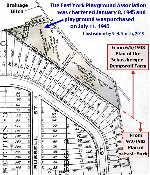Pertinent sections of the June 5, 1948 Plan of the Schaszberger-Dempwolf Farm and the September 2, 1903 Plan of East York are combined to illustrate location of playground of the East York Playground Association (S. H. Smith, 2019)