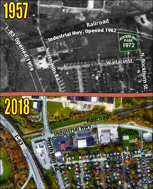 Comparison Aerial Views of western section of Industrial Highway in Springettsbury Township, York County, PA (Sources: October 9, 1957 Aerial Photo from Penn Pilot site and 2018 Google Aerial Photo; annotated by S. H. Smith, 2019)