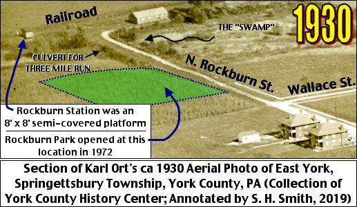 Section of Karl Ort's ca 1930 Aerial Photo of East York, Springettsbury Township, York County, PA (Collection of York County History Center; Annotated by S. H. Smith, 2019)