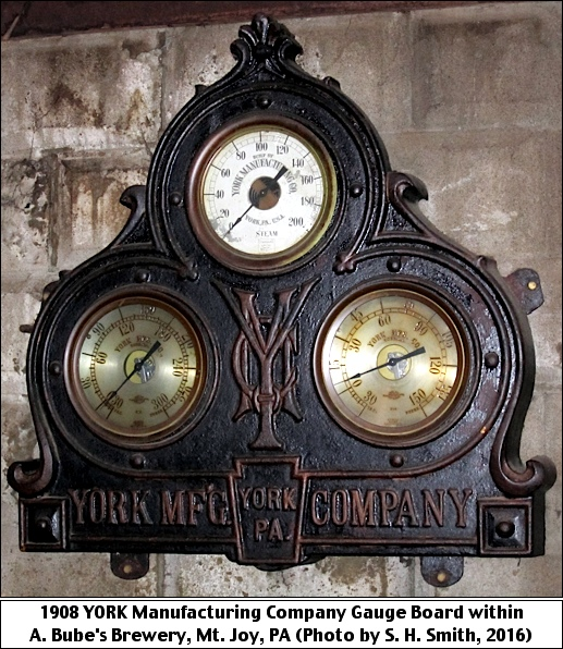 1908 YORK Manufacturing Company Gauge Board within A. Bube's Brewery, Mount Joy, PA (Photo by S. H. Smith, 2016)