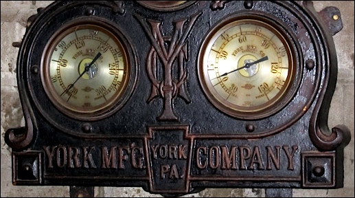 Refrigeration side of 1908 YORK Manufacturing Company Gauge Board within A. Bube's Brewery, Mount Joy, PA (Photo by S. H. Smith, 2016)