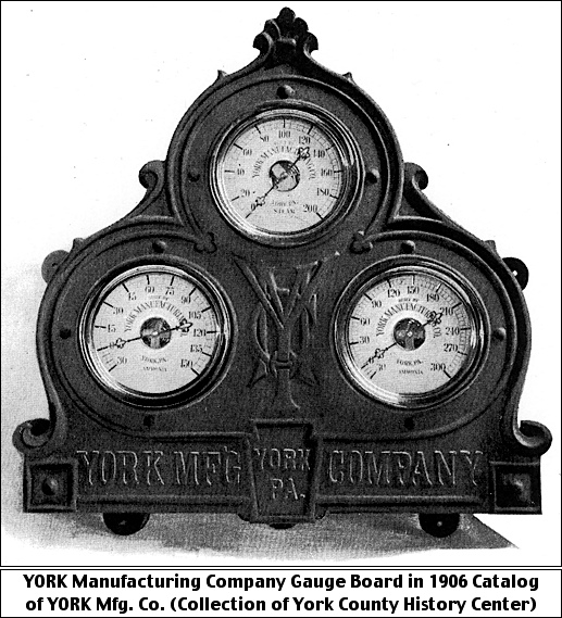 YORK Manufacturing Company Gauge Board in 1906 Catalog of YORK Manufacturing Company (Collection of York County History Center)