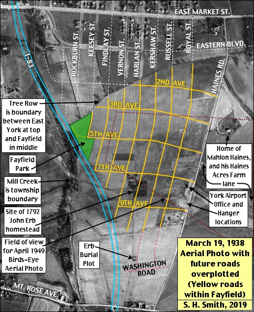 March 19, 1938 Aerial Photo with future roads overplotted; where yellow roads form a grid defining the York Airport property (Historic Aerial Photo from Penn Pilot; Annotated by S. H. Smith, 2019)