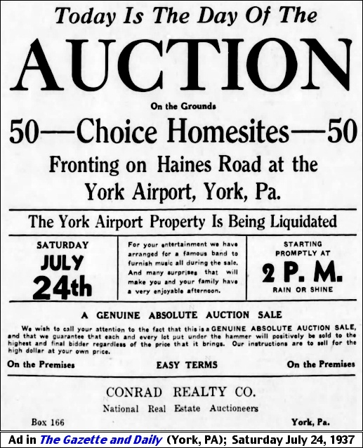 Ad in The Gazette and Daily (York, PA); Saturday July 24, 1937