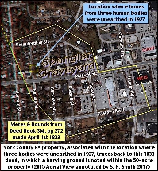 York County PA property, associated with the location where three bodies were unearthed in 1927, traces back to this 1833 deed, in which a burying ground is noted within the 50-acre property. That burying ground is the pre-Revolutionary Caspar Spengler (Casper Spangler) family graveyard. (2015 Aerial View annotated by S. H. Smith, 2017)