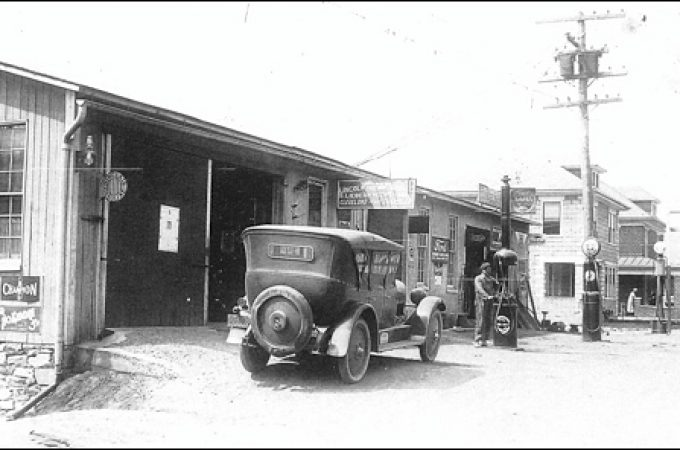 The 1920s Lincoln Highway Garage in Hallam