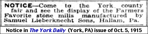 Samuel Lieberknecht Sons notice for their Farmers Favorite stone mills in The York Daily on October 5, 1915