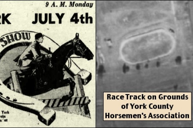 New show grounds of the York County Horsemen's Association were dedicated in 1955 near the Haines Shoe House, by hosting the Annual York Horse Show on July 4th. (Ad is from The Gazette and Daily (York, PA) issue of July 2, 1955 and the Sept. 5, 1957 PennPilot Historic Aerial Photo shows the Race Track on the grounds)