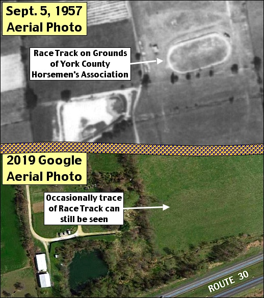 Then and now aerial photos of the Race Track within 1955 show grounds of the York County Horsemen's Association, near the Haines Shoe House. (Sept. 5, 1957 PennPilot Historic Aerial Photo versus 2019 Google Aerial Photo; Annotated by S. H. Smith, 2019)