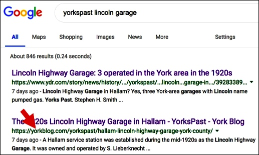 yorkspast lincoln garage Google search of April 7, 2019