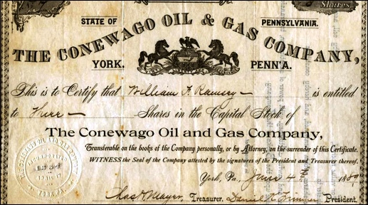 Stock Certificate for The Conewago Oil and Gas Company, York, PA; submitted by John Shue
