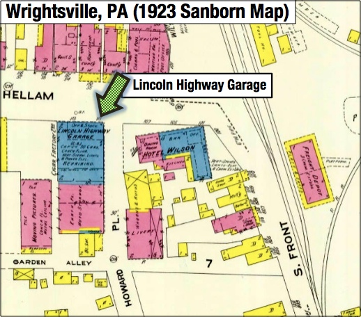 1923 Sanborn Fire Insurance Map of Wrightsville, PA; focusing on the Lincoln Highway Garage on the southwest corner of Hellam Street and Howard Place (Source: Penn State Libraries online Sanborn Maps)