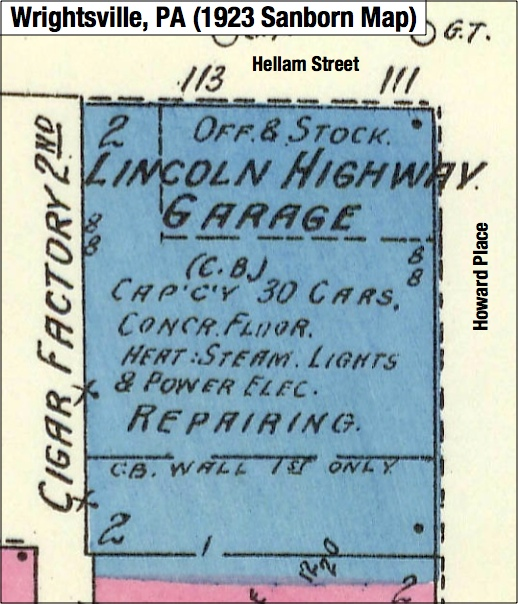 Zoomed-in view of 1923 Sanborn Fire Insurance Map of Wrightsville, PA; focusing tightly on the Lincoln Highway Garage on the southwest corner of Hellam Street and Howard Place (Source: Penn State Libraries online Sanborn Maps)