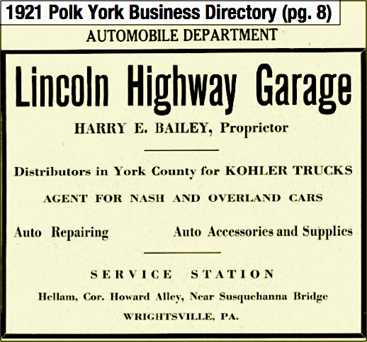 Lincoln Highway Garage ad on page 8 of the 1921 Polk York Business Directory (Source: Ancestry.com via search on Harry E. Bailey)