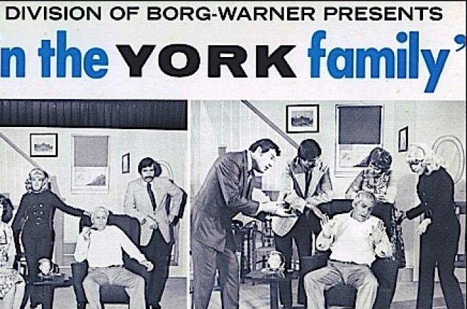 "Section of Record Album cover entitled: ""York Division of Borg-Warner presents 'all in the YORK family;' a recording of a one-time-only ""sales musical"" performed at a destination sales meeting in Bermuda during October-November 1972 (Collection of S. H. Smith)"