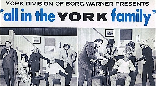 """Section of Record Album cover entitled: """"York Division of Borg-Warner presents 'all in the YORK family;' a recording of a one-time-only """"sales musical"""" performed at a destination sales meeting in Bermuda during October-November 1972 (Collection of S. H. Smith)"""