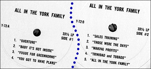 """Record labels for: """"York Division of Borg-Warner presents 'all in the YORK family;' a recording of a one-time-only """"sales musical"""" performed at a destination sales meeting in Bermuda during October-November 1972 (Collection of S. H. Smith)"""