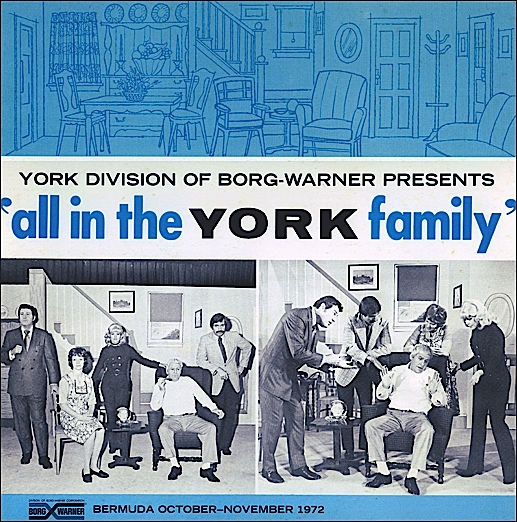 """Front cover of Record Album entitled: """"York Division of Borg-Warner presents 'all in the YORK family;' a recording of a one-time-only """"sales musical"""" performed at a destination sales meeting in Bermuda during October-November 1972 (Collection of S. H. Smith)"""