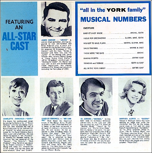 """Back cover of Record Album entitled: """"York Division of Borg-Warner presents 'all in the YORK family;' a recording of a one-time-only """"sales musical"""" performed at a destination sales meeting in Bermuda during October-November 1972 (Collection of S. H. Smith)"""