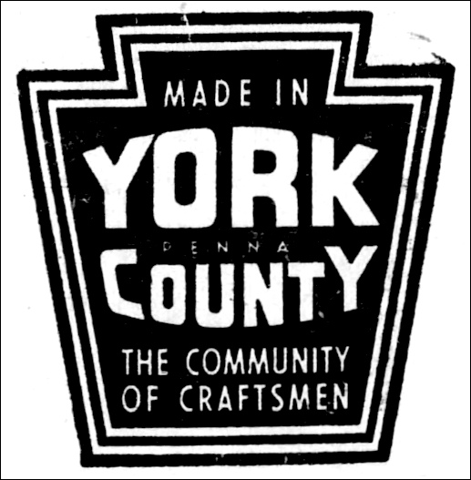 """Made in York County, The Community of Craftsmen"" insignia adopted September 1949 by the Manufacturers' Association of York (York County History Center)"