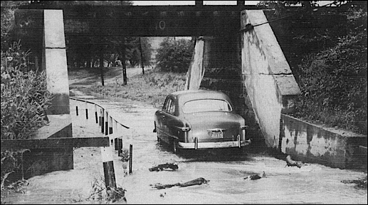 View looking north through the North Hills Road underpass in Springettsbury Township, York County, PA (September 1952 flooding photo in Collection of York County History Center)