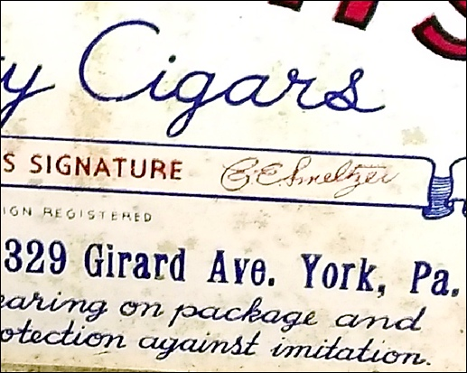 Zoomed in view of The Original Smeltzer's Quality Cigars box (Submitted by Nicholas Dercole)