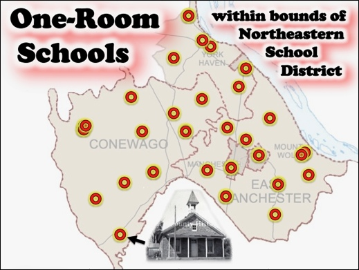 Location of the 29 One-Room Schoolhouses within bounds of present Northeastern School District (S. H. Smith illustration, 2019)