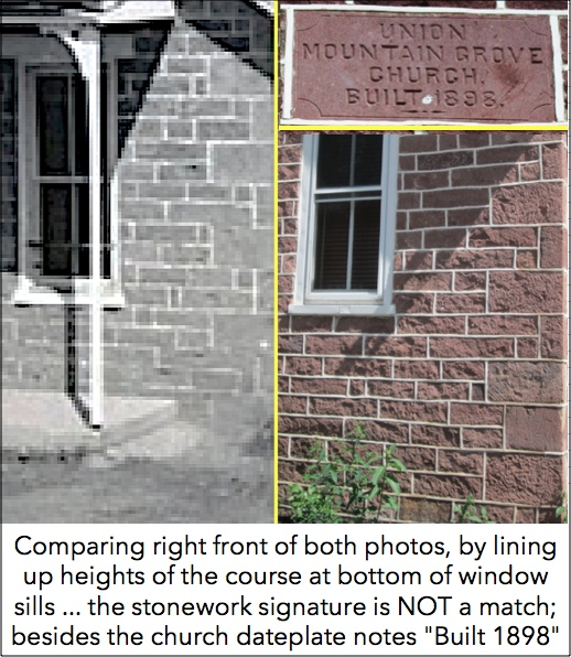 Right front stonewall comparison between Neiman's Grammar One-Room Schoolhouse (1940 photo, York County History Center) and Mountain Grove Chapel (2019 S. H. Smith photo)