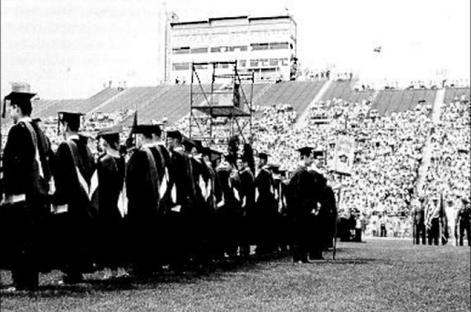 Alternate delivery of Penn State Spring Commencement in 1972